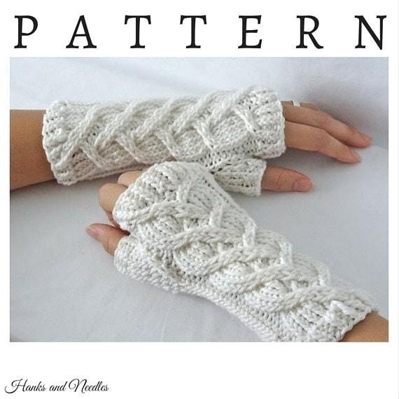 PDF Cable Knitting Pattern Wrist Warmers Fingerless Gloves