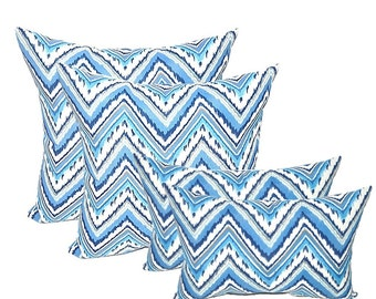 "SET OF 4 - Indoor / Outdoor 17"" Square & Rectangle / Lumbar Pillows - Sapphire Blue, Grey, White Chevron"