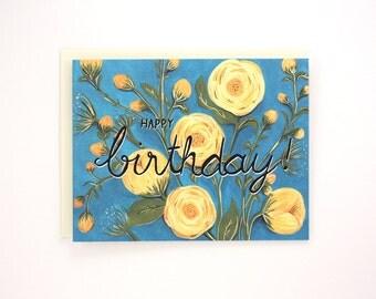 Happy Birthday - Peonies birthday greeting card - flowers, yellow peonies, blue turquoise / BIR-PEONIES