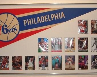 Philadelphia 76ers Basketball Pennant & Cards Retrospective...Custom Framed