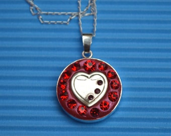 Red Heart pendant necklace sterling silver