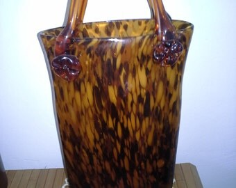 """Tall 16"""" Tortoise Shell Blown Glass Purse Vase Collectable Art Glass"""