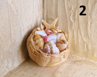 1:12 scale Dollshouse seashell baskets
