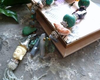 genuine african turquoise necklace, quarzt necklace, ethnic gemstone necklace, bouddha collier, unique artistic necklace, turquoise