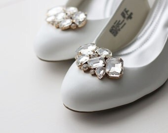 Pair Crystal Rhinestone Wedding Bridal Shoe Clips ,Gold Bridal Shoe Clips