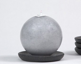 """Gray Ball Candle 4"""" - pillar candle - gift for him - hostess gift - coworker gift - desk decor"""