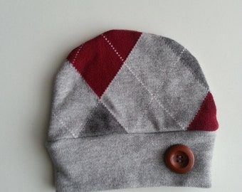 Upcycled, Recycled,Grey, Red Baby Boy Hat.
