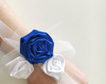 Floral bracelet/ wedding bracelet/ something blue/ brides/ bridesmaid/bachelorette party/ rosettes handmade/ maid of honor