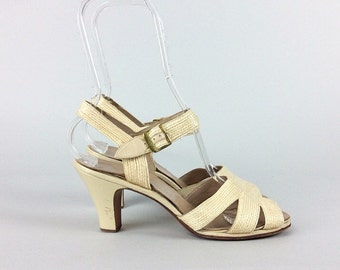 50s Woven Ivory Heels / 1950s Vintage Pin Up Vintage Wedding Pumps / Size 7 - 7.5