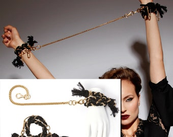 SET Two Bondage Cuffs with Leash, Wrap Around Black & Gold Rope  Bracelet, Gothic Victorian, Valentine BDSM, Fetish, Venetian, Baroque