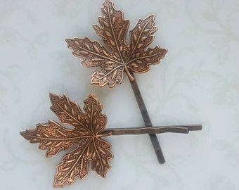 Copper Maple Leaf Hairpins, Fall Bobby Pins, Woodland Nature Rustic Wedding Bridal Hair Clip, Canada