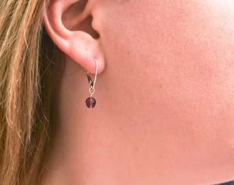 Sterling Silver with Amethyst Swarovski bead dangle earrings -  February birthstone earrings