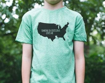 LOUISIANA Kid jemand liebt mich / Louisiana Youth Shirt / Louisiana State Shirt / Louisiana Familie