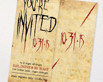 Fright Night Halloween Invitations - Print or Digital