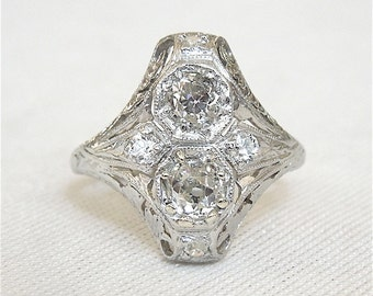 Platinum Two Stone Up-and-Down Art Deco Diamond Engagement Ring