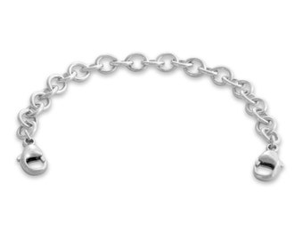 """5.5mm Thick Bracelet / Necklace Safety Chain 2.0''-6.0"""" with Two 5mm Lobster Claw Clasps #925 Sterling Silver #Azaggi S0586S"""