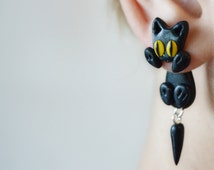cat earrings cat ear jacket halloween earrings black cat earrings cat ear climber front back earrings clinging earrings star dust ear post