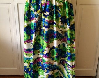 Fun bespoke custom smock waisted maxi skirt from the 70s in vibrant blues and greens womens vintage