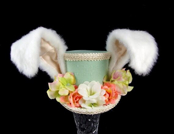The White Rabbit - Rabbit Eared Sea Foam Green, Pink, and Cream Flower Garden MEdium Mini Top Hat Fascinator, Alice in Wonderland Tea Party