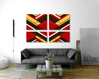 """Original geometric painting. 4 piece canvas art. 51x33"""" Modern wall art. Red painting with yellow and brown. Contemporary art."""