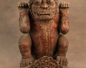 Singha Lion Antique, Carved Indonesian Mythical Beast, Wood. Antique