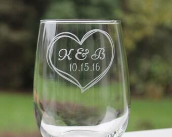 wedding wine glasses, heart, stemless wine glasses, wine glasses, personalized wine glasses, wedding wine glasses, monogram, etched wine