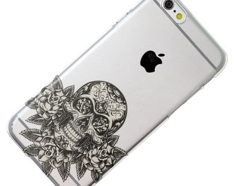 Sugar Skull On Roses Black Clear Phone Case iPhone 6, 7, SE, 6 Plus, 7 Plus, 6S, 5, 5C, 5S, Galaxy S6, S7, Note 5, Note 7