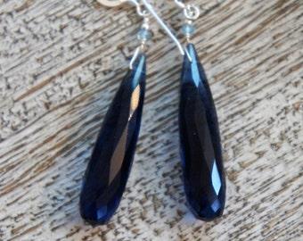 BLUE QUARTZ long CHANDELIER faceted briolette earrings, apatite. S.S. Something blue/ natural/ Art Nouveau/Edwardian/ elegant/Sundance/ boho