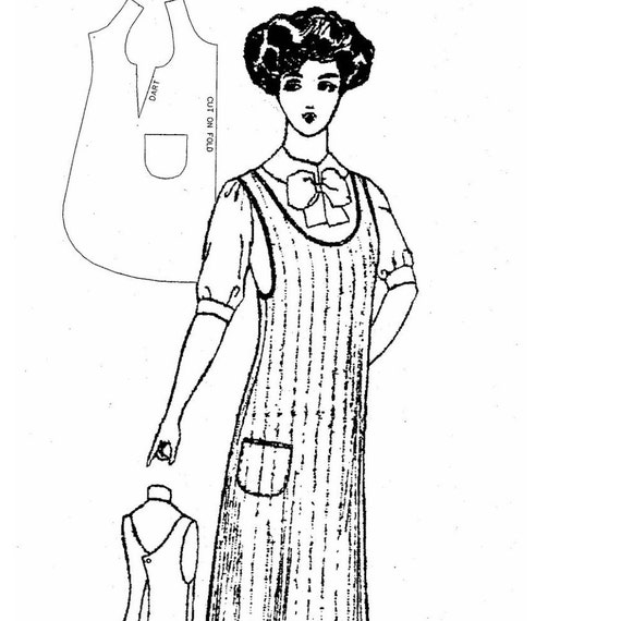 Victorian Edwardian Apron, Maid Costume & Patterns 1910 Ladys One-Piece Kitchen Apron Sewing Pattern by Past Patterns $19.95 AT vintagedancer.com