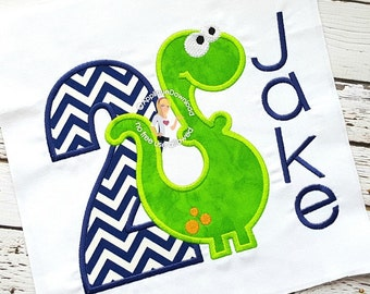 Second Birthday Dinosaur Applique Design - Instant EMAIL with Download - for Embroidery Machines