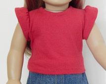 18 inch Doll Red Tee Shirt Jersy T-Shirt  Liberty Jane Pattern
