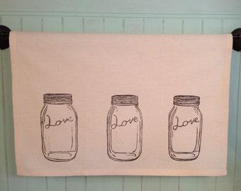 Block Printed Mason Jar Love
