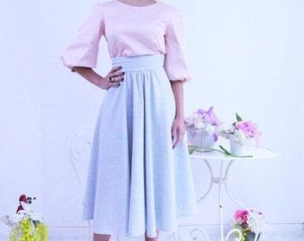 High waisted circle skirt, midi blue skirt, below knee skirt, calf length skirt,