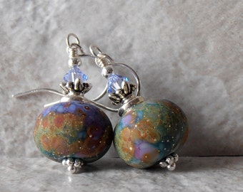 Multi Color Beaded Earrings Lampwork Bead Dangle Earrings Sterling Silver Chunky Bead Earrings with Swarovski Elements Colorful Jewelry