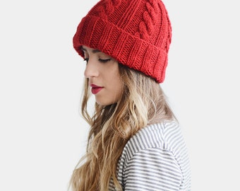 Hand Knit Beanie, Red Beanie Hat, Cable Knit Womens Winter Hat with Pom Pom, Unisex Ski Hat, Mens Wool Hat, Custom Color