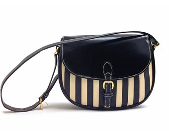 Moschino bag by Redwall Striped leather canvas bag
