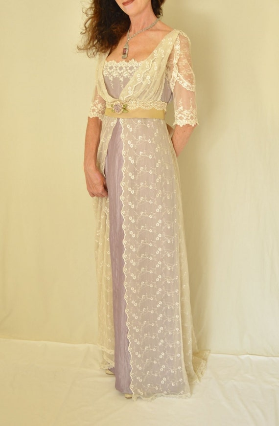 Lace wedding dress edwardian downton abbey titanic by for Downton abbey style wedding dress