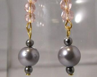 Pink and Grey Dangle Earrings (E74)