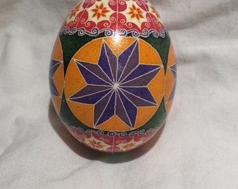 Red Lace Stars and Flowers -- Hand dyed Ukrainian Easter Egg