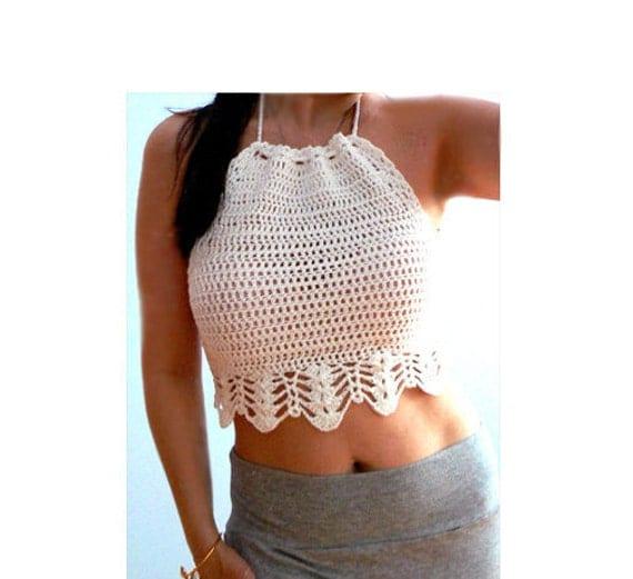 Beige crochet crop halter top . Summer boho crochet tank . Festival white crochet top. Women halter tank top. Cotton crochet tank .