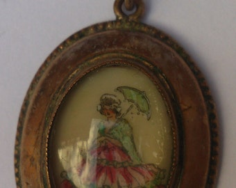 Vintage collectable Thomas L Mott hand painted pendant