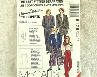 Jacket Culottes Pants, L, McCalls 6176 Pattern, Lined, Forward Shoulder, Back Pleats, Side Seam Opening, 1992 Uncut, Size 18