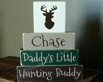Personalized Daddy's Little Hunting Buddy Blocks