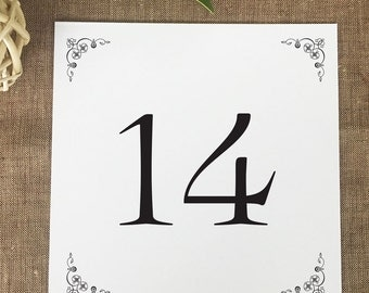 Kennedy Table Numbers, Vintage Wedding Table Numbers, Printed Wedding Table Number Cards
