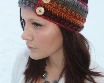 Multicolor Cozy Ear Warmer/Headband With Buttons
