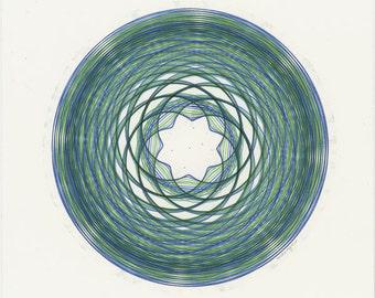 Hand Drawn Art, Blue-Green Artwork, Abstract Art Circle Wall Art Teal-Green Spiral Line Drawing, Mandala Art, Sacred Geometry, 8x8 Wall Art