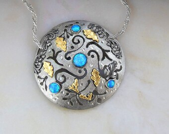 Tree Of Life Necklace. Tree of Life Handmade. Silver & Blue Opal Tree Of Life. Judaica Tree Of Life. Gold Olive Leaves.   FREE SHIPPING!