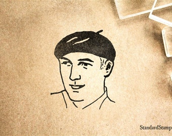 Beret Rubber Stamp - 2 x 2 inches