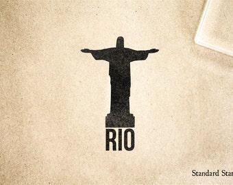 Cristo el Redentor Rio sello - 2 x 2 pulgadas