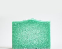 Cucumber Mint Soap   Clean + Refreshing Scented Salt Bar, Artisan Body Wash, Handmade, Palm Free, Spa Gift, Cold Process, Vegan, Aqua Blue